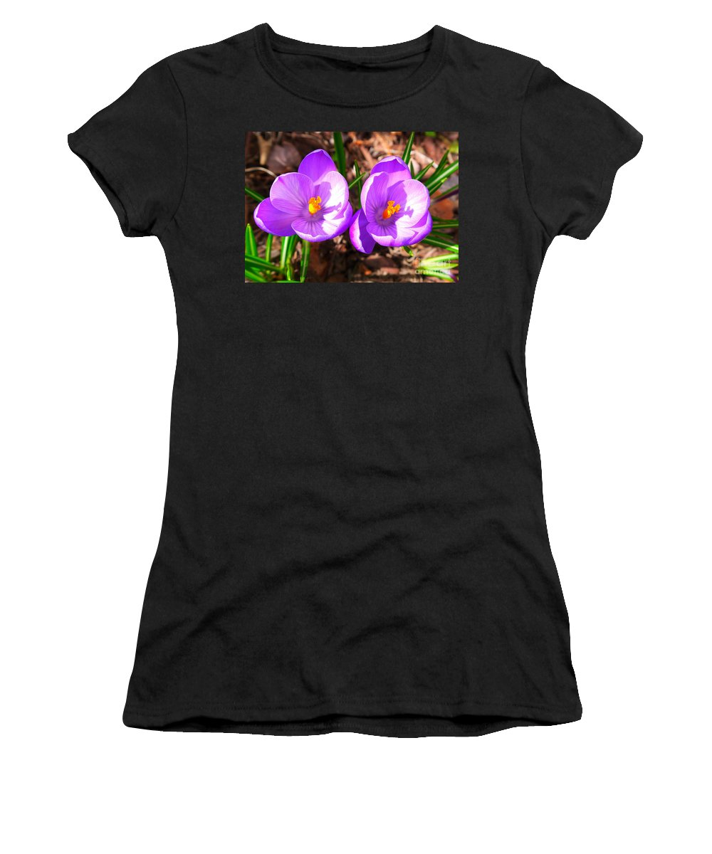 Crocus Women's T-Shirt (Athletic Fit) featuring the photograph Spring Is Here by Nancie DeMellia