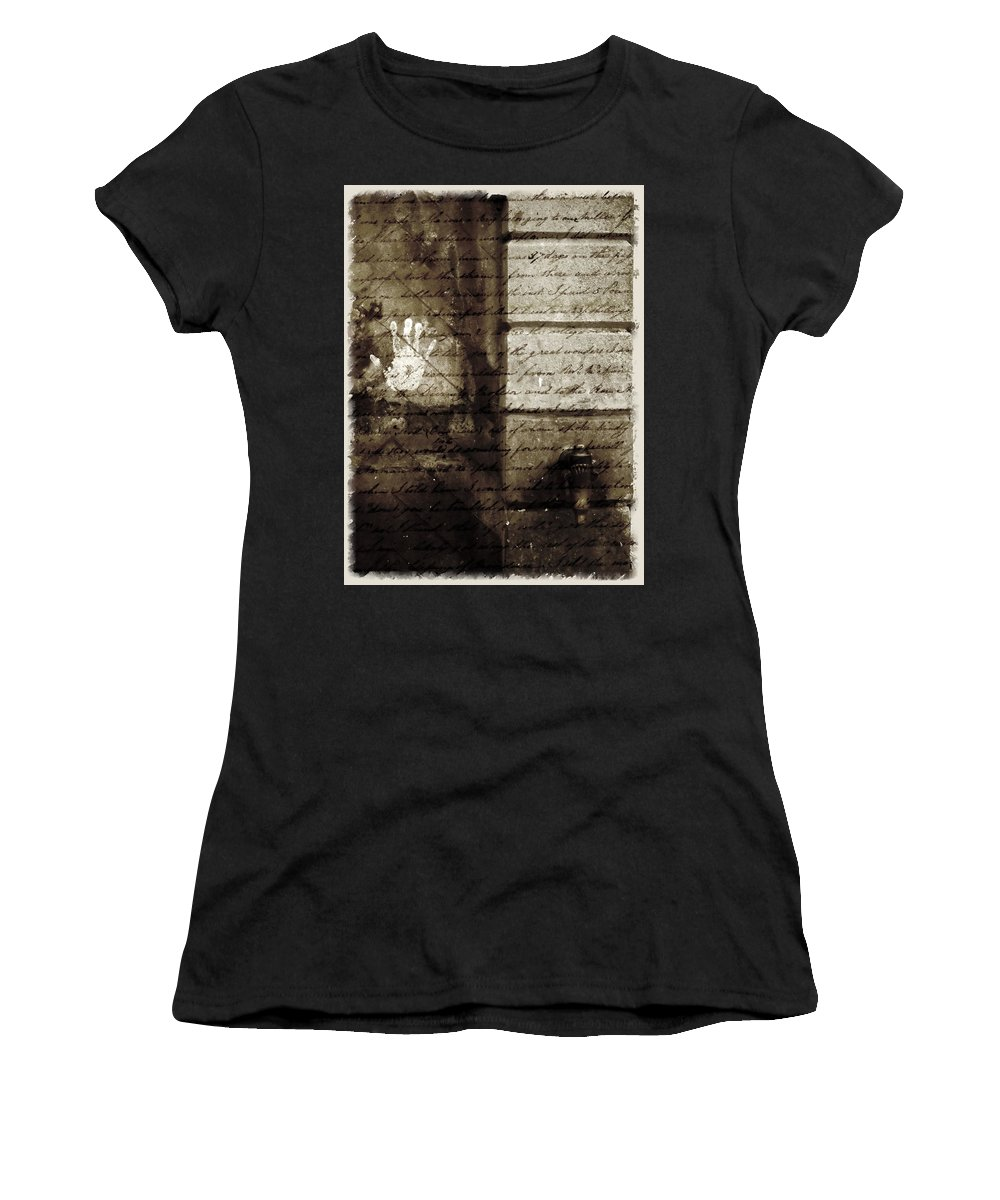 Nobody Women's T-Shirt featuring the photograph spring water memories - A letter and hand print composition beside a vintage griffin by Pedro Cardona Llambias