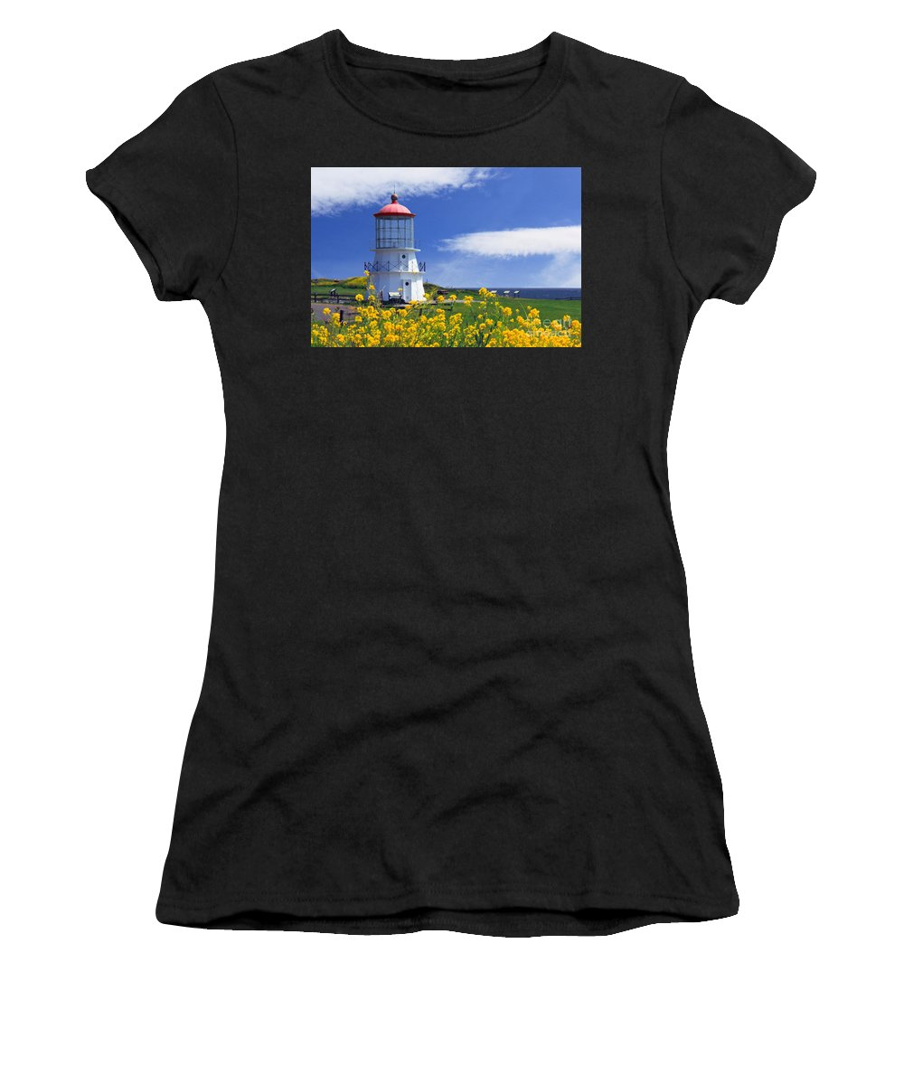 Lighthouse Women's T-Shirt featuring the photograph Springtime Lighthouse by James Eddy