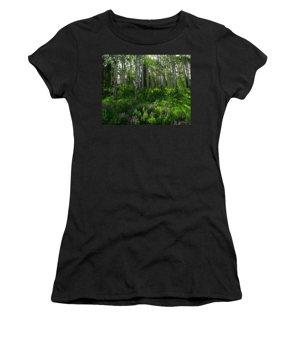 Aspens Women's T-Shirt (Athletic Fit) featuring the photograph Springtime On The Grand Mesa by Ernie Echols