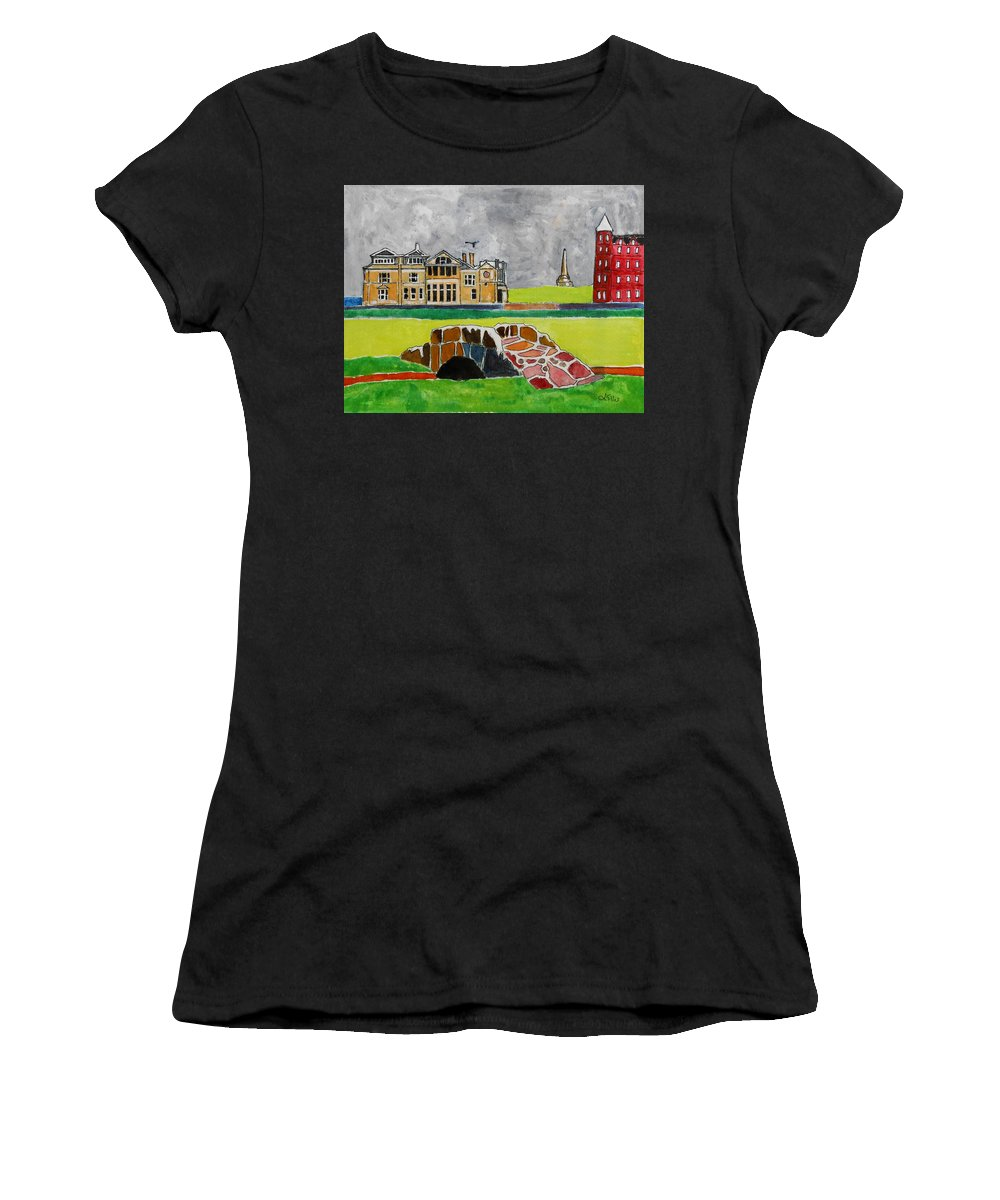 St Andrews Women's T-Shirt (Athletic Fit) featuring the painting St Andrews Swilcan Bridge by Lesley Giles