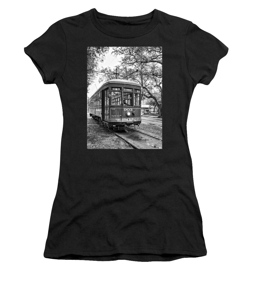 Nola Women's T-Shirt (Athletic Fit) featuring the photograph St. Charles Streetcar 2 Bw by Steve Harrington