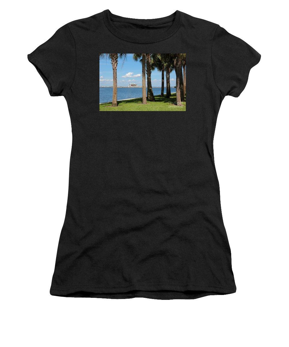 St Pete Women's T-Shirt featuring the photograph St Pete Pier Through Palm Trees by Carol Groenen