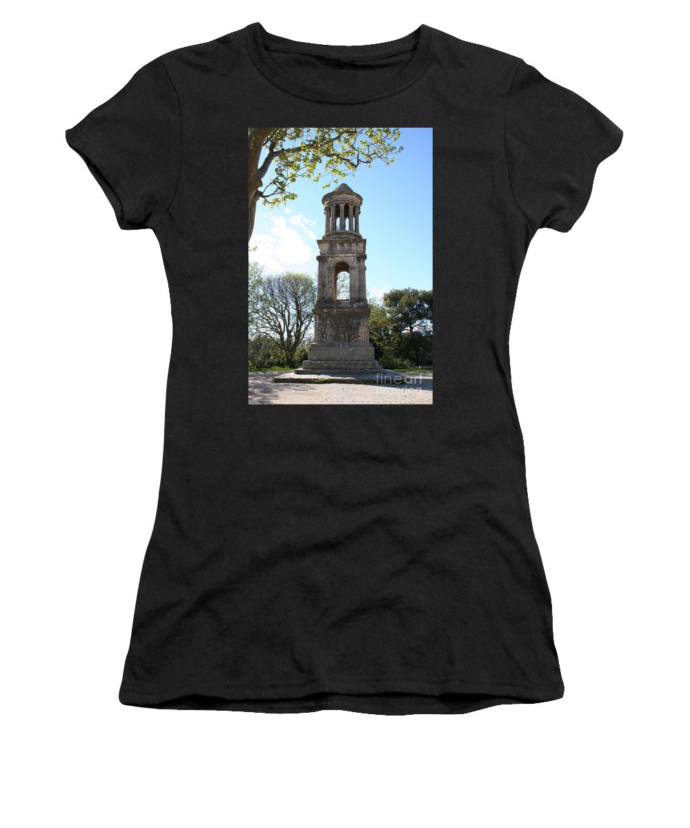 Mausoleum Women's T-Shirt (Athletic Fit) featuring the photograph St. Remy - Mausolee Des Jules by Christiane Schulze Art And Photography