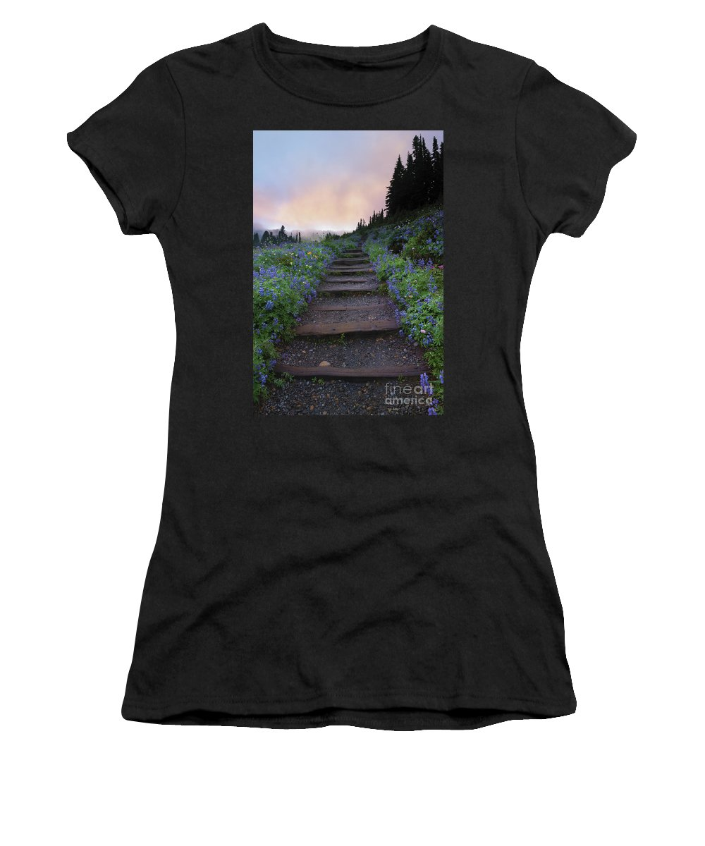 Stairway Women's T-Shirt (Athletic Fit) featuring the photograph Stairway To The Heavens by Mike Dawson