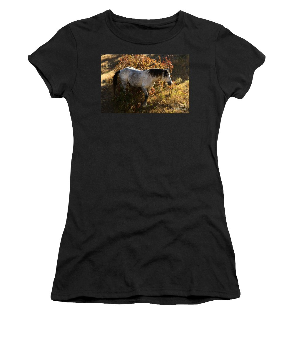 Theodore Roosevelt National Park Women's T-Shirt (Athletic Fit) featuring the photograph Stallion Of The Badlands by Adam Jewell