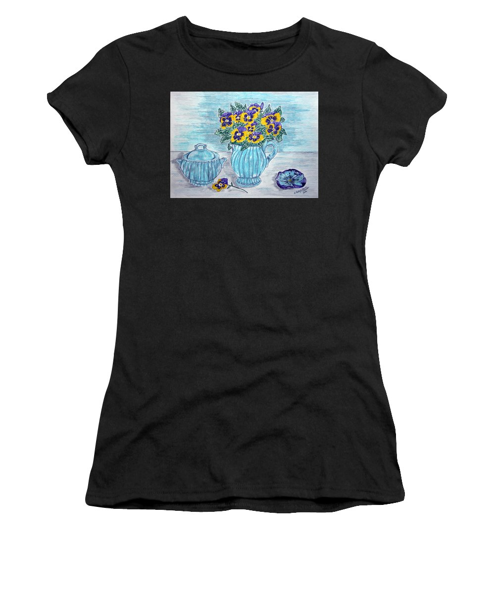 Stangl Pottery Women's T-Shirt (Athletic Fit) featuring the painting Stangl Pottery And Pansies by Kathy Marrs Chandler