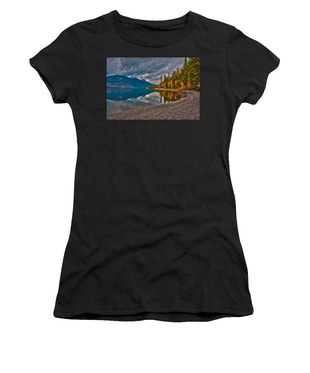 Mcpartland Reflections Women's T-Shirt (Athletic Fit) featuring the photograph Stanton Mountain With Mount Vaught And Mcpartland Reflected In Lake Mcdonald by Brenda Jacobs