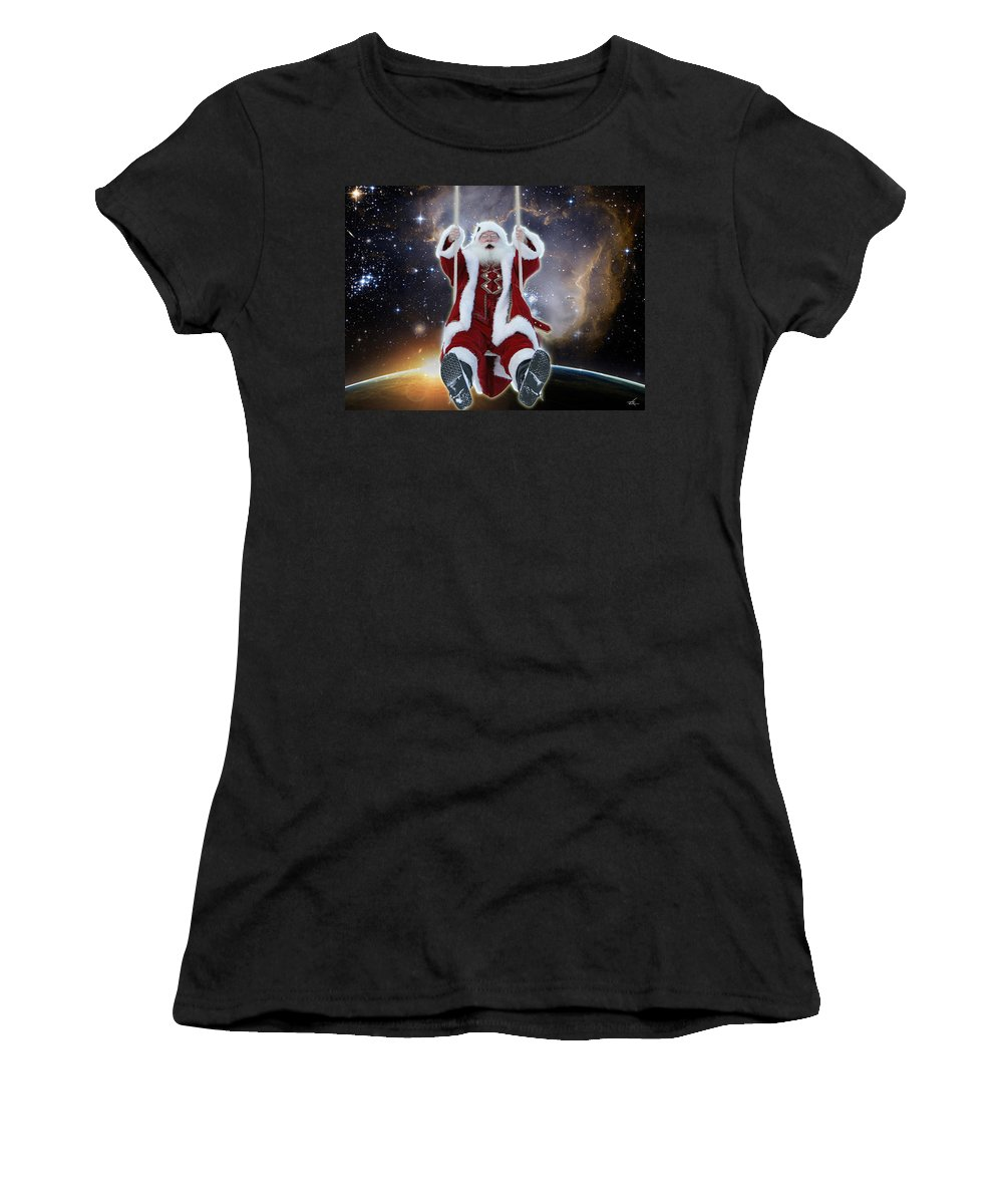 Santa Women's T-Shirt featuring the photograph Santa's Star Swing by Larry Rice