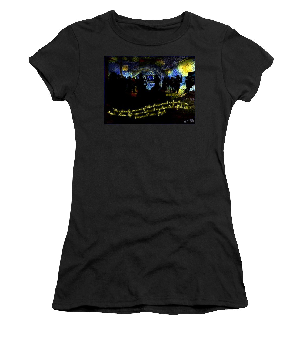 Staring Women's T-Shirt featuring the drawing Staring At The Starry Night In The Moma by Jose A Gonzalez Jr