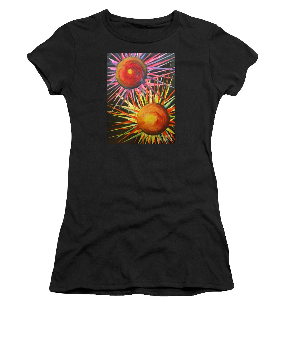 Fine Art Painting Women's T-Shirt (Athletic Fit) featuring the painting Stars With Colors by Chrisann Ellis