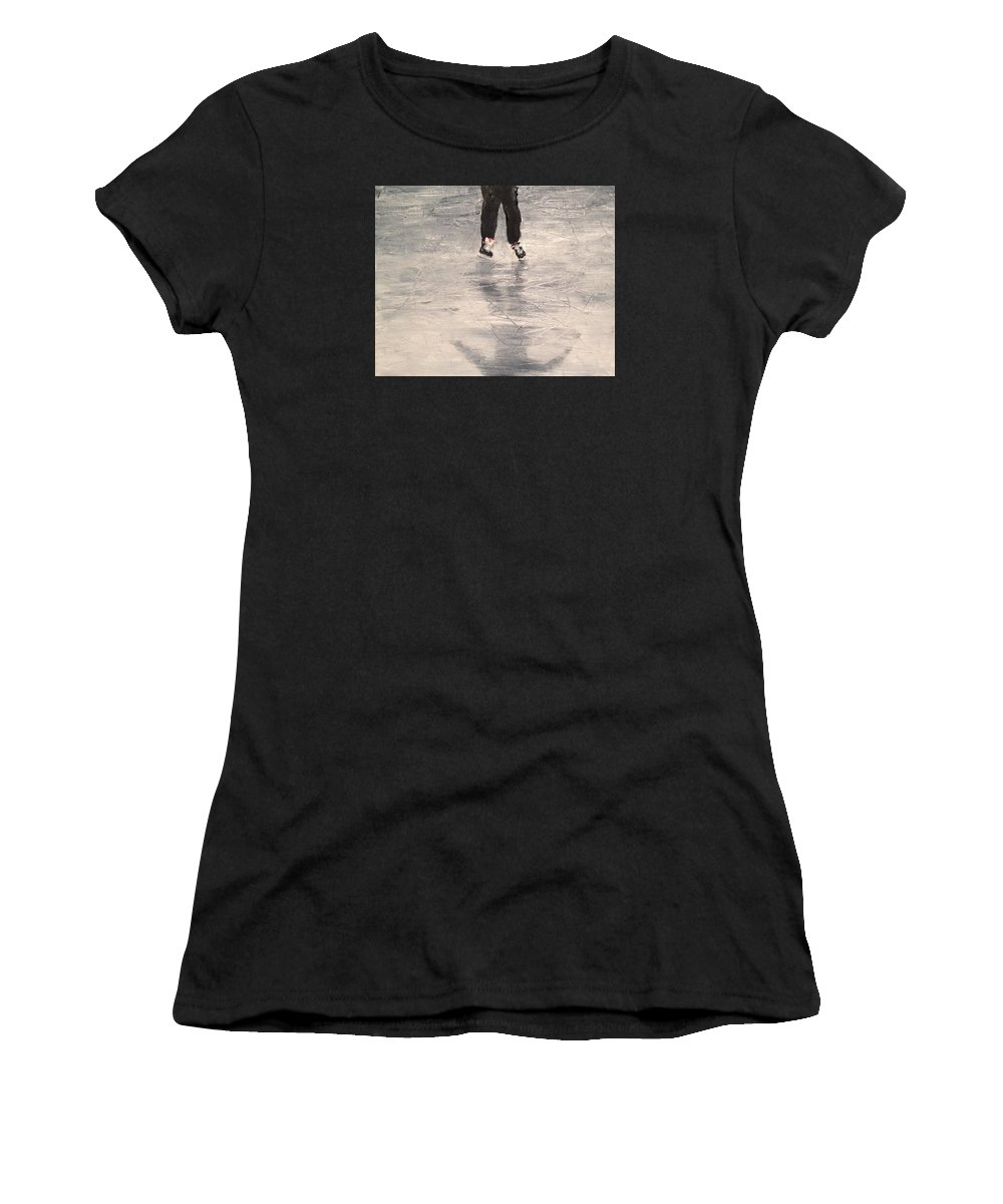 Shinny Hockey Painting Women's T-Shirt featuring the painting Starting Out by Desmond Raymond