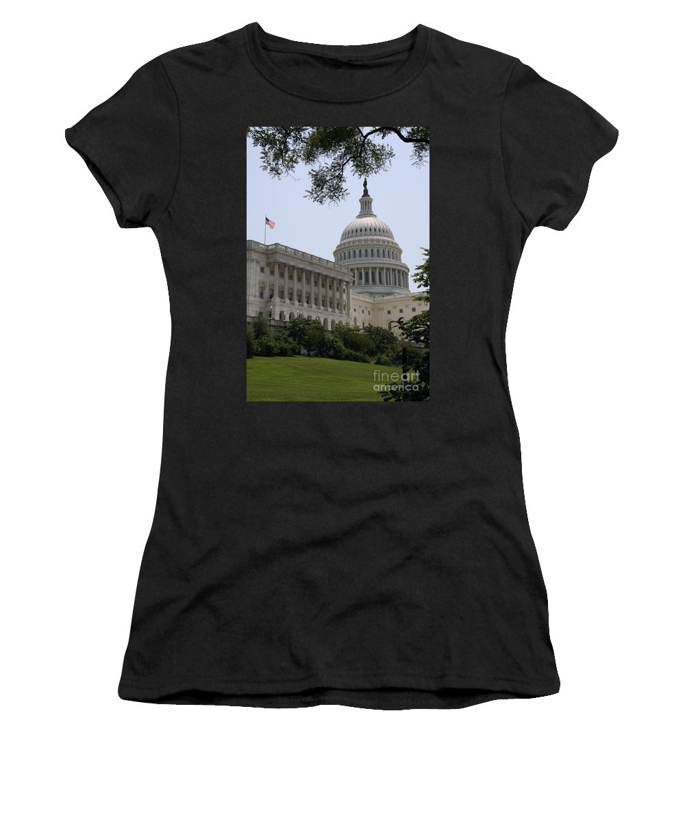 Capitol Women's T-Shirt (Athletic Fit) featuring the photograph State Capitol Washington Dc by Christiane Schulze Art And Photography