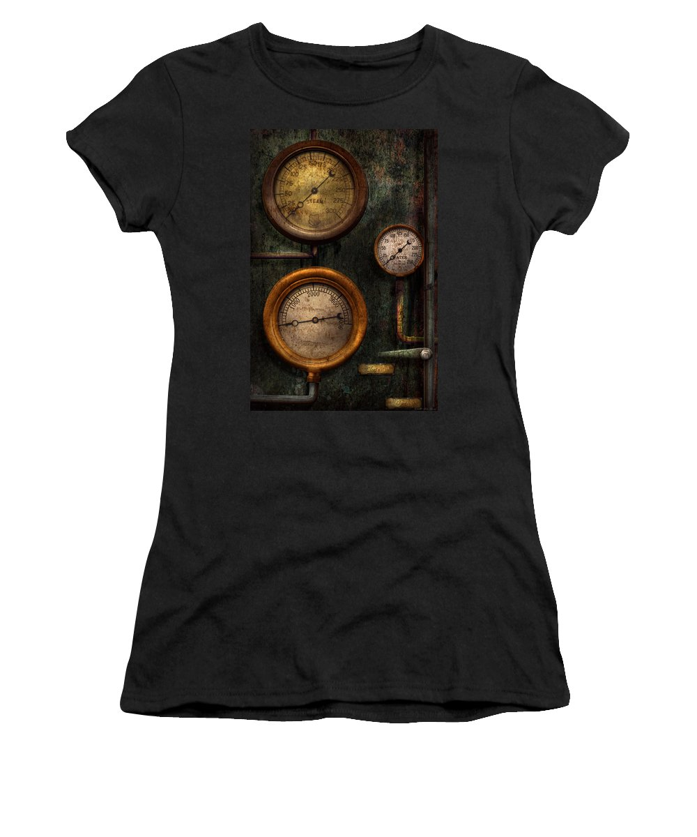 Steampunk Women's T-Shirt featuring the photograph Steampunk - Plumbing - Gauging Success by Mike Savad