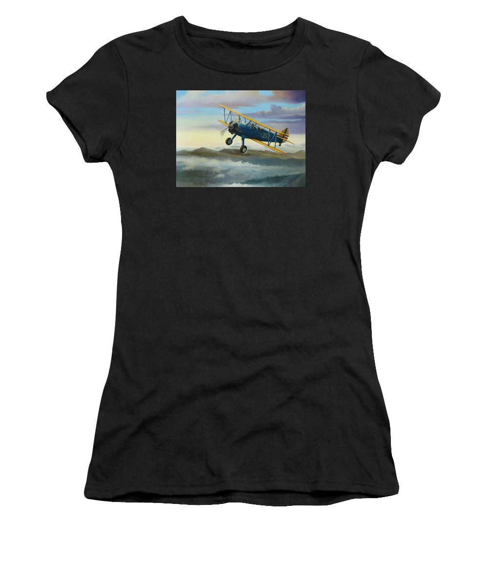 Stearman Women's T-Shirt (Athletic Fit) featuring the painting Stearman Biplane by Stuart Swartz