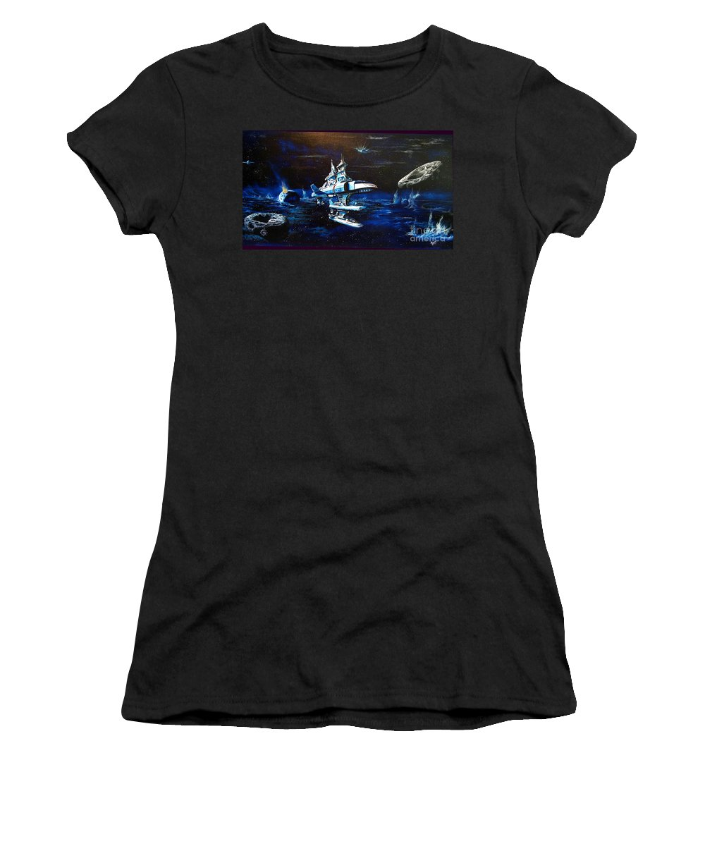 Alien Women's T-Shirt (Athletic Fit) featuring the painting Stellar Cruiser by Murphy Elliott