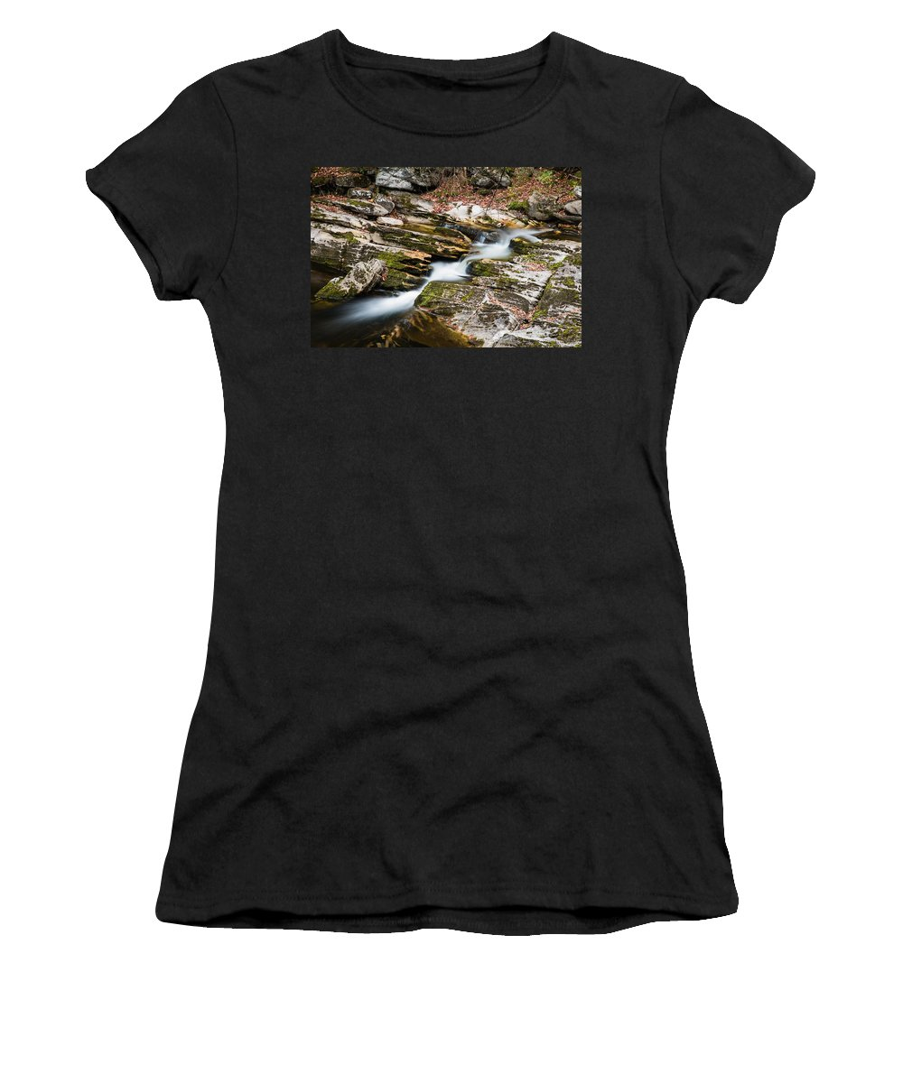 Kent Falls State Park Women's T-Shirt (Athletic Fit) featuring the photograph Stepping Down The River by Geoffrey Bolte