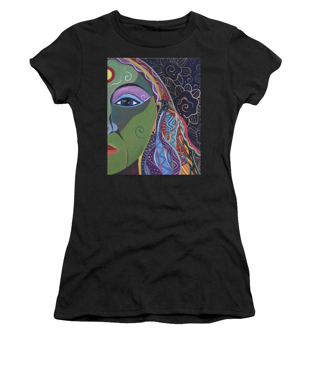 Woman Women's T-Shirt featuring the painting Still A Mystery 5 by Helena Tiainen