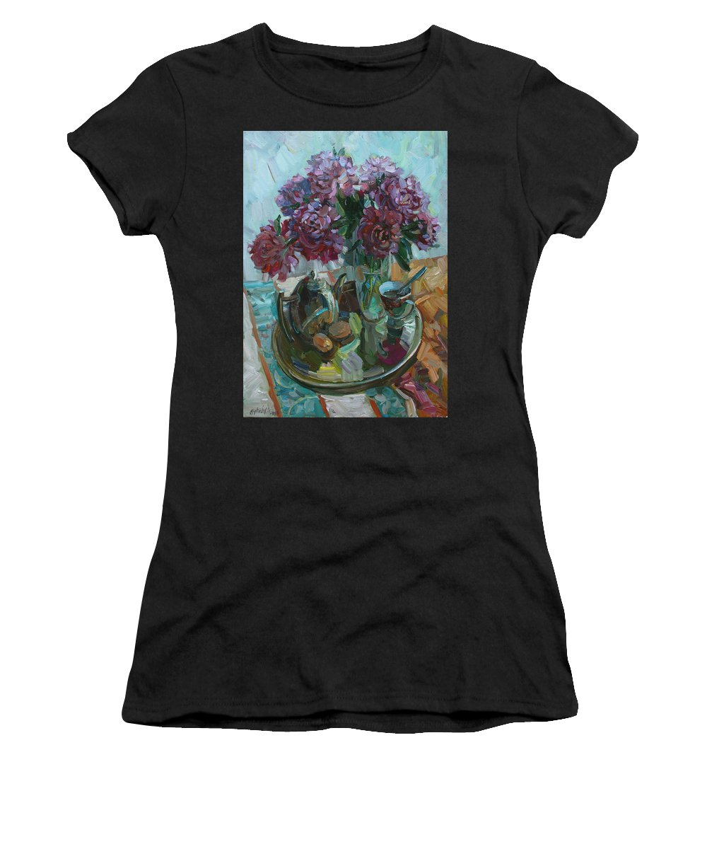 Still Life Women's T-Shirt featuring the painting Still Life With Peonies by Juliya Zhukova