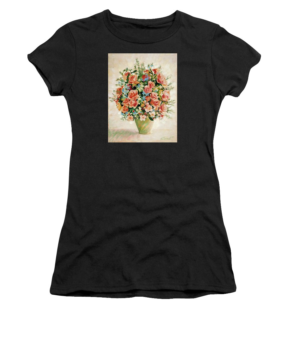 Flowers Women's T-Shirt featuring the painting Still Life With Roses by Iliyan Bozhanov