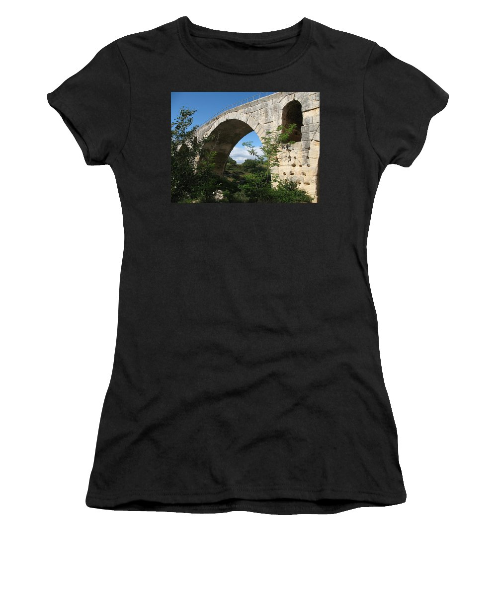 Roman Stonebridge Women's T-Shirt (Athletic Fit) featuring the photograph Stone Arch Of Pont St. Julien by Christiane Schulze Art And Photography