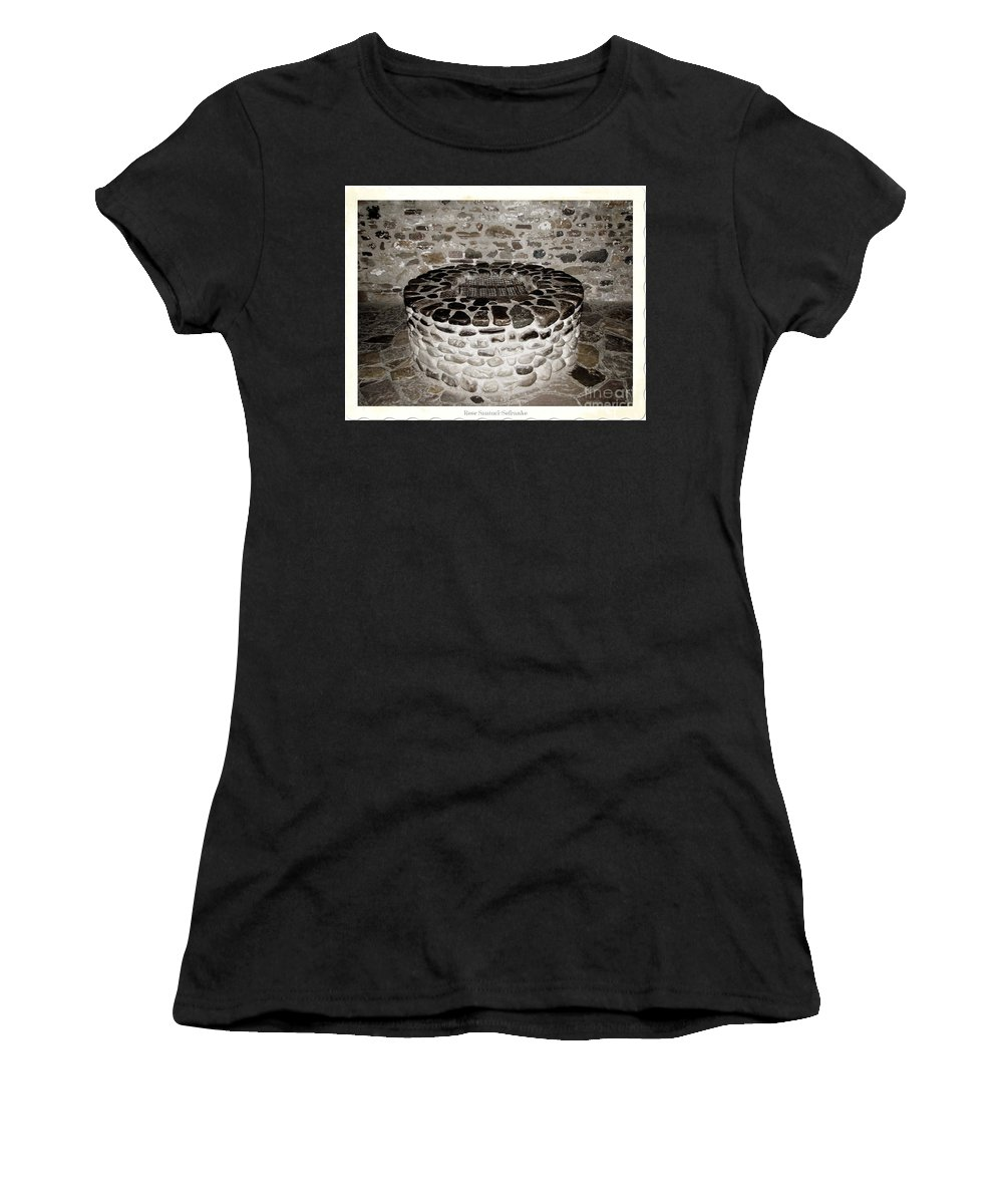 Fire-pit Women's T-Shirt (Athletic Fit) featuring the photograph Stone Well At Old Fort Niagara by Rose Santuci-Sofranko