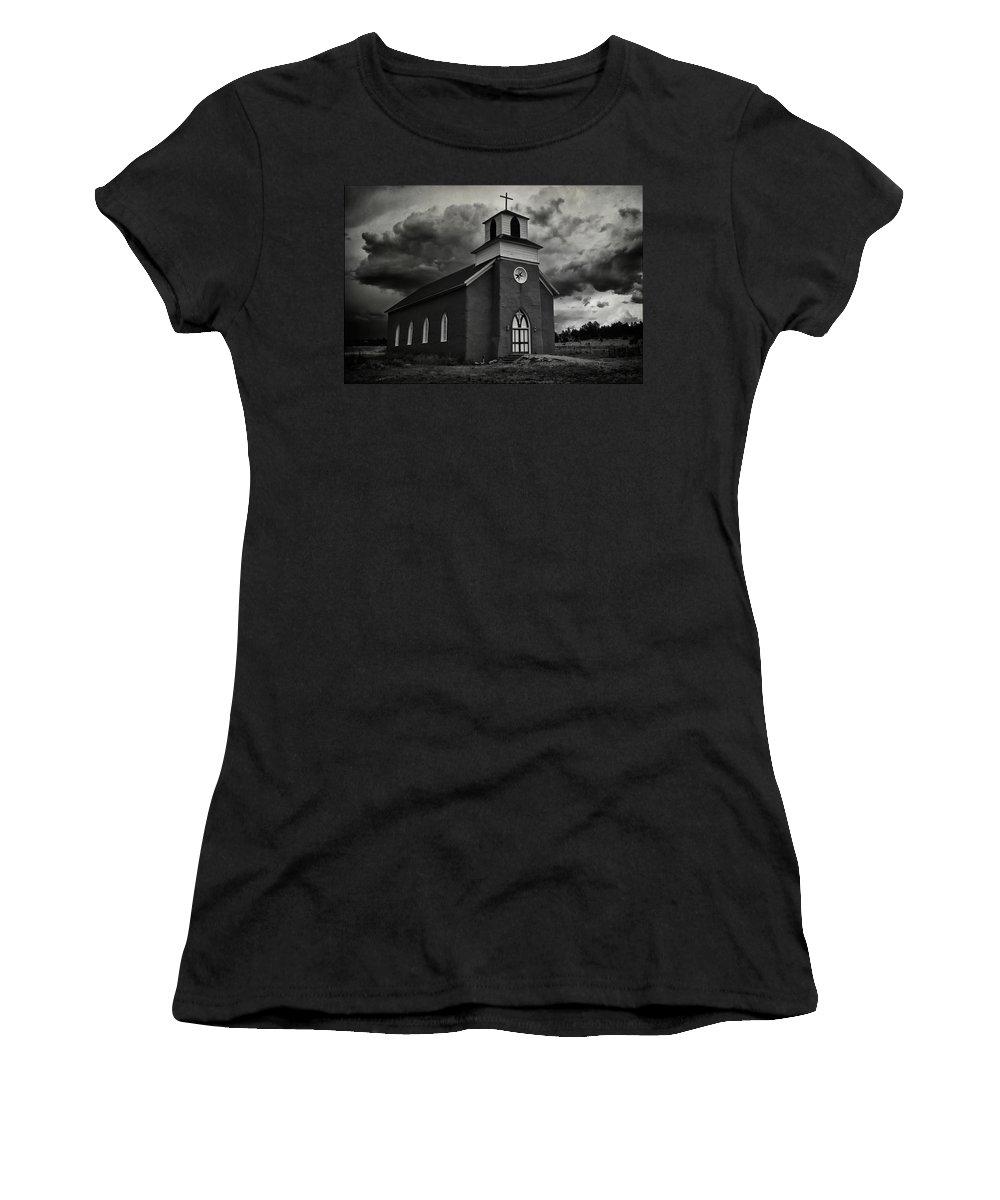 Restored San Rafael Church Women's T-Shirt (Athletic Fit) featuring the photograph Storm At San Rafael Church by Priscilla Burgers