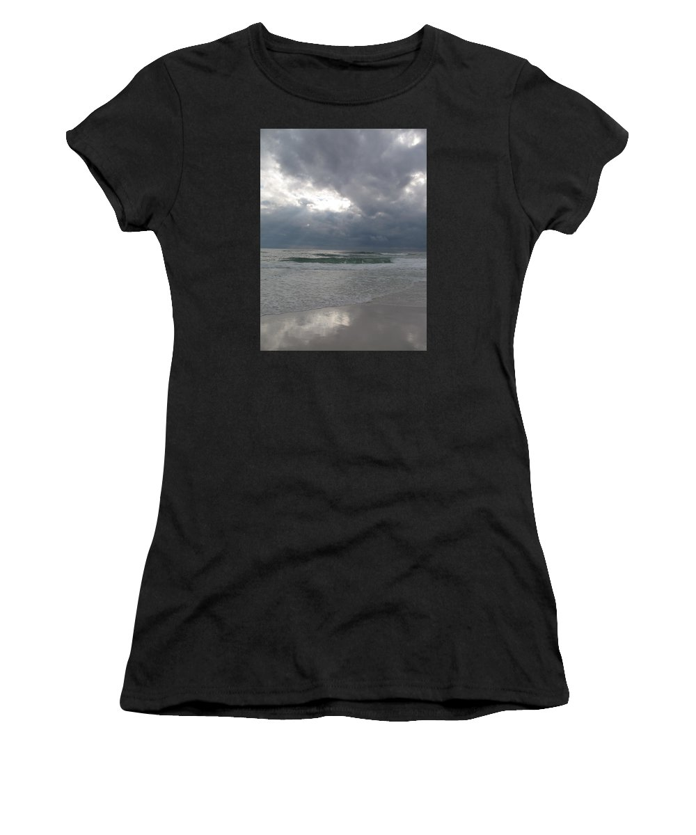 Clouds Women's T-Shirt (Athletic Fit) featuring the photograph Stormclouds Over The Sea by Christiane Schulze Art And Photography