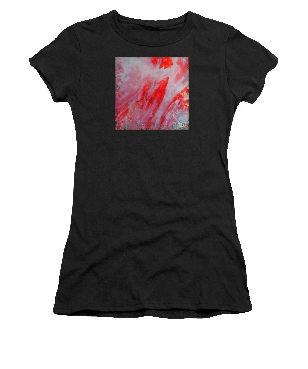 Abstract Women's T-Shirt (Athletic Fit) featuring the painting Strawberry Ice Cream by Dragica Micki Fortuna