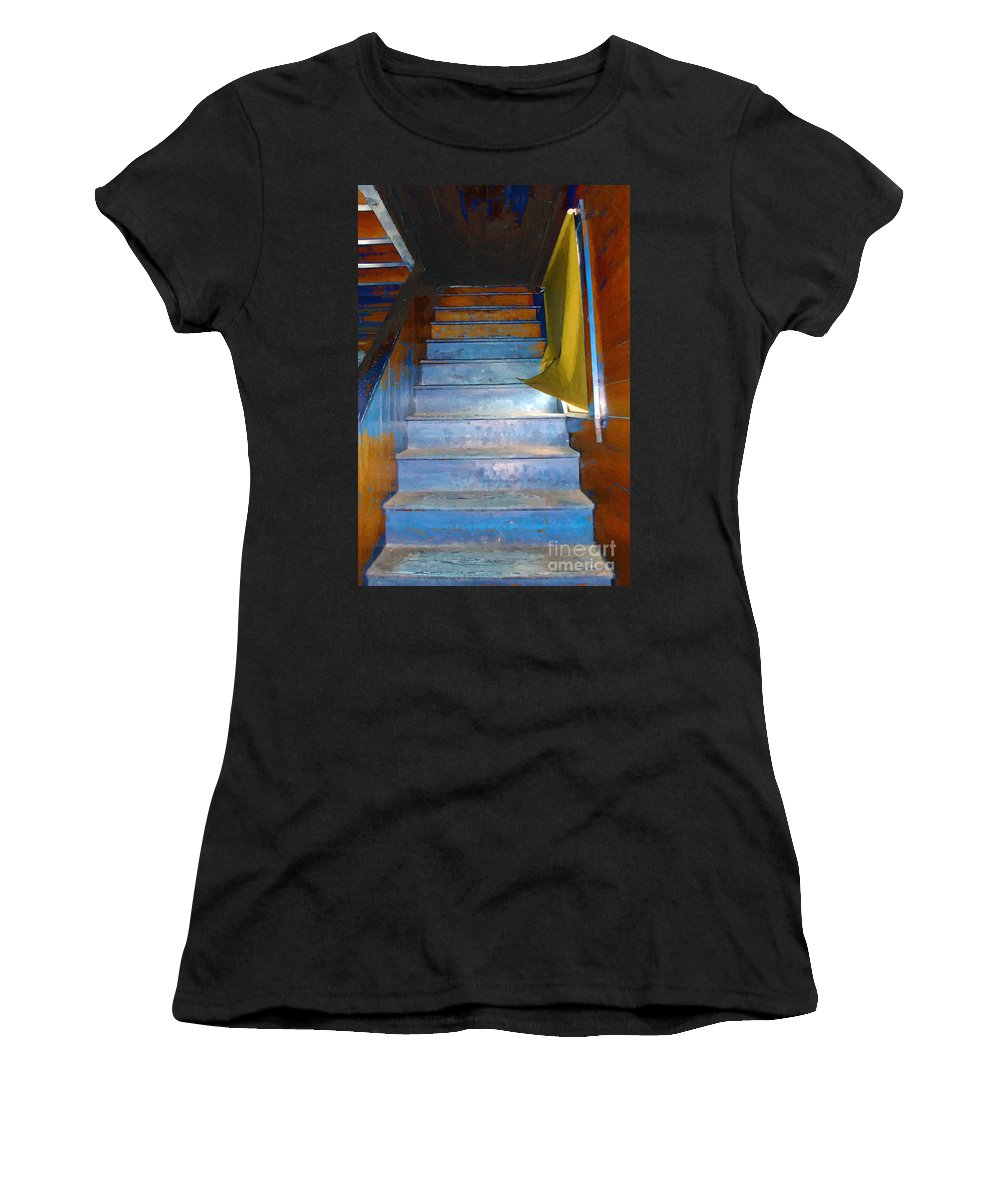 Stairs Women's T-Shirt (Athletic Fit) featuring the painting Stray Breeze On The Stairs by RC DeWinter