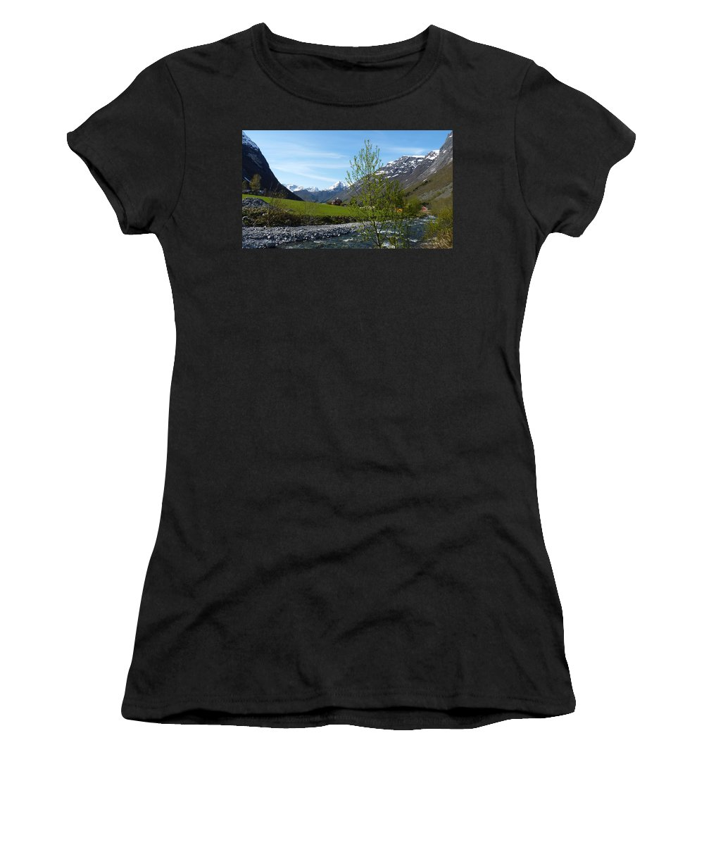 Women's T-Shirt (Athletic Fit) featuring the photograph Stream To The Fjord by Katerina Naumenko