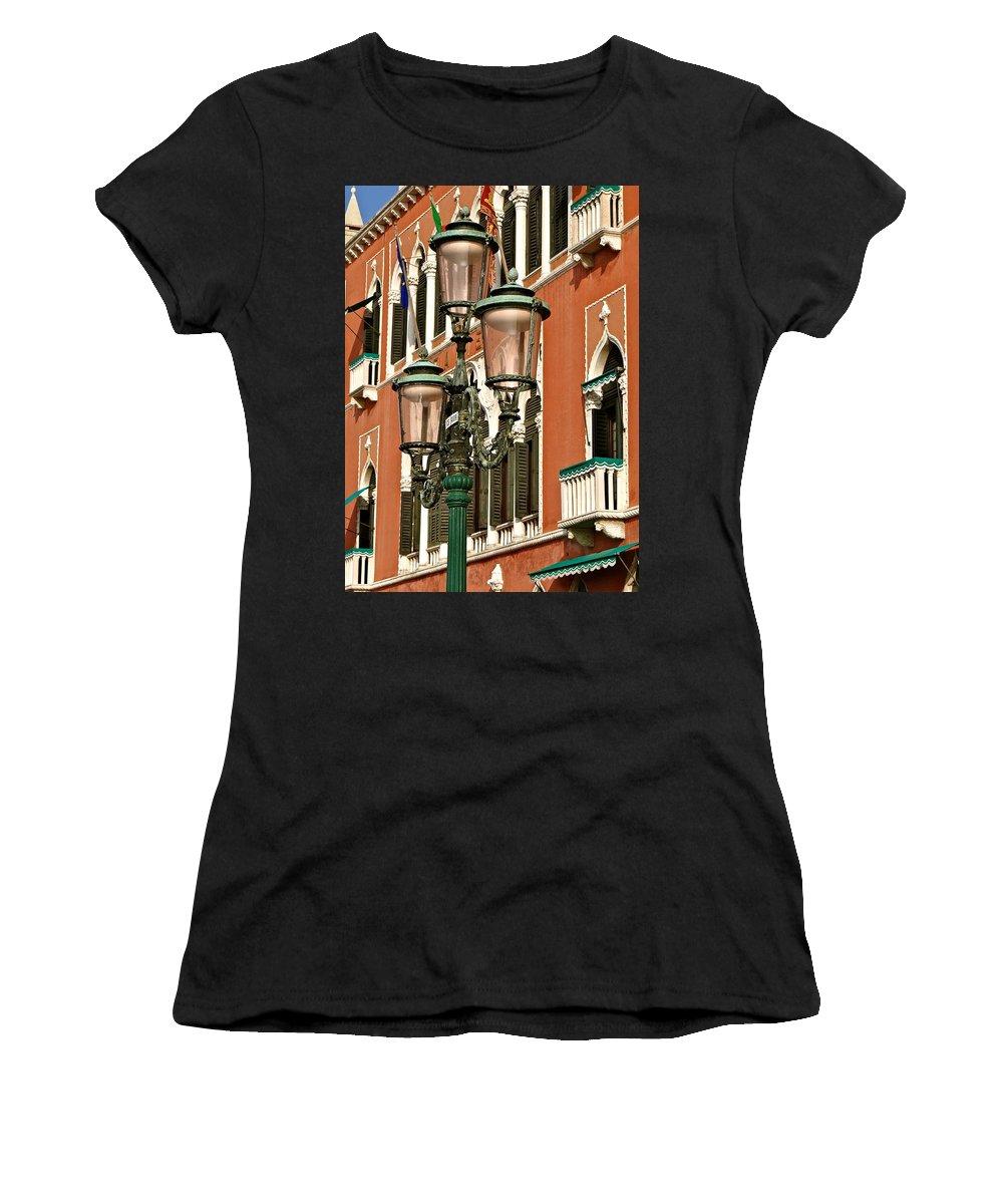 Street Lamps Of Venice Women's T-Shirt featuring the photograph Street Lamps Of Venice by Ira Shander