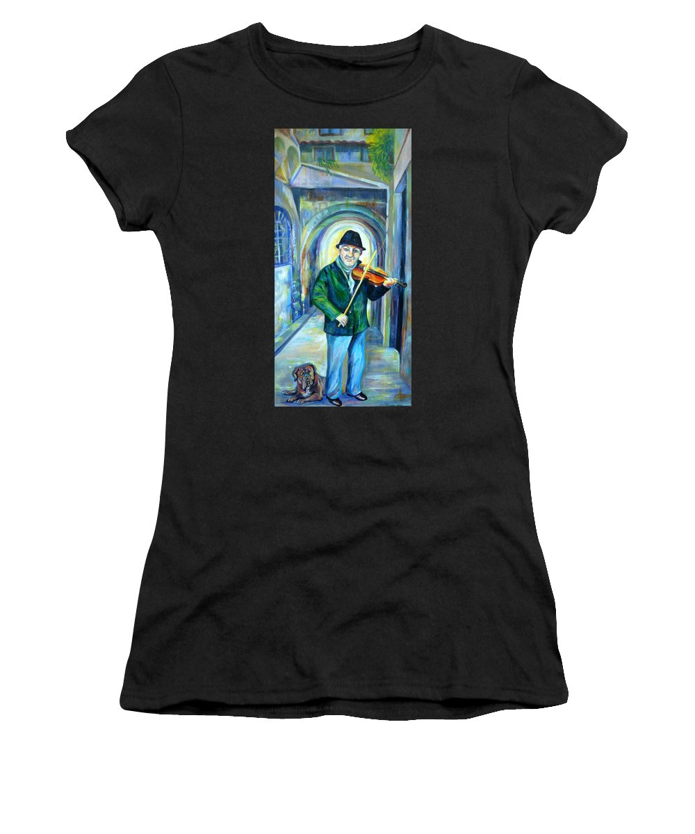 Italy Women's T-Shirt (Athletic Fit) featuring the painting Italian Street Music. Part Two by Anna Duyunova