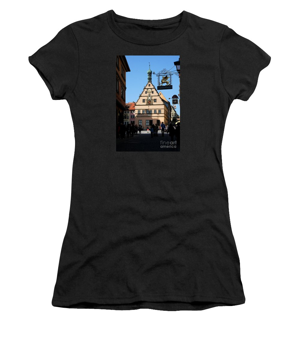 Old Town Women's T-Shirt (Athletic Fit) featuring the photograph Street Scene Rothenburg by Christiane Schulze Art And Photography
