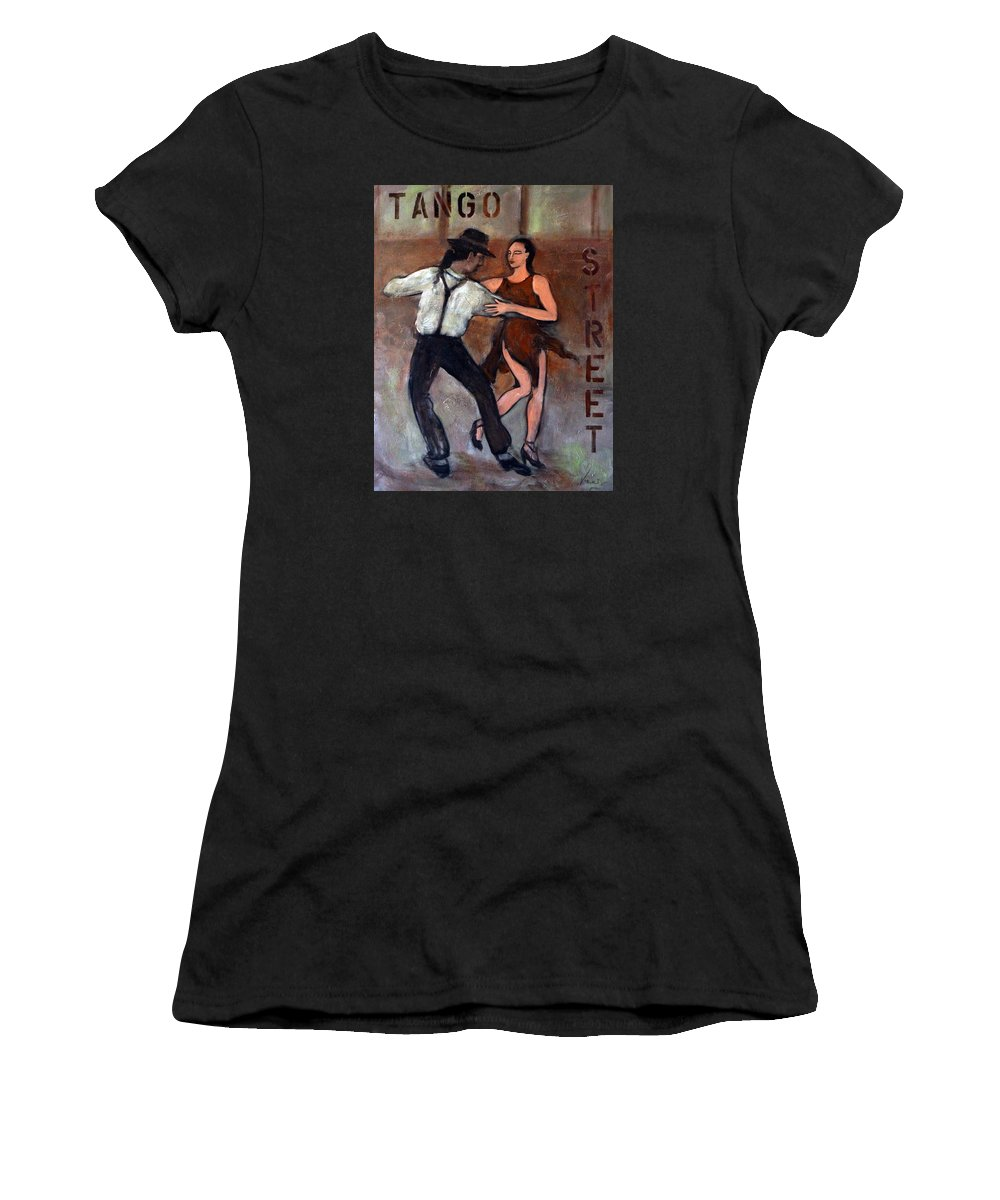 Tango Women's T-Shirt (Athletic Fit) featuring the painting Tango Street by Valerie Vescovi