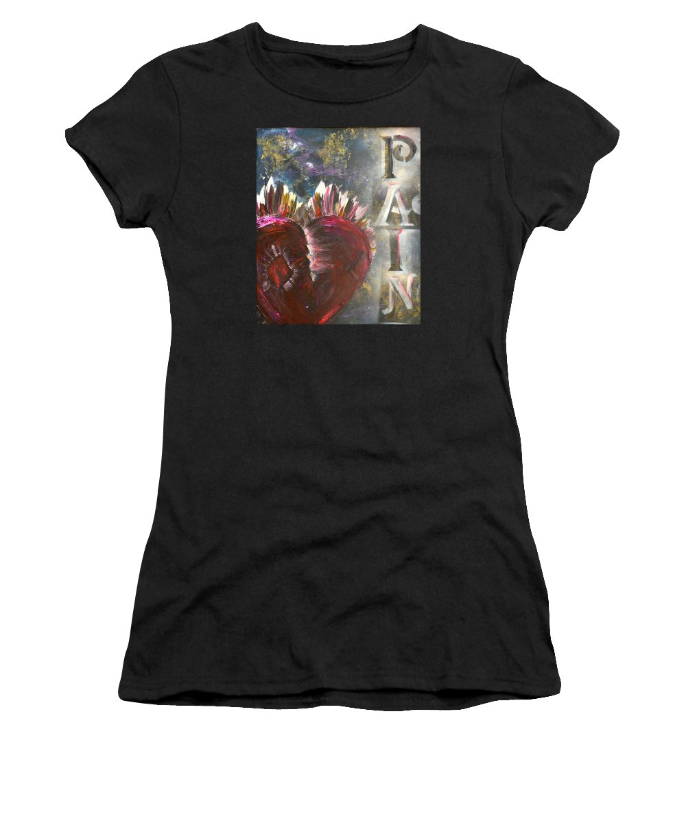 Heart Women's T-Shirt featuring the painting Striking Pain by Meganne Peck