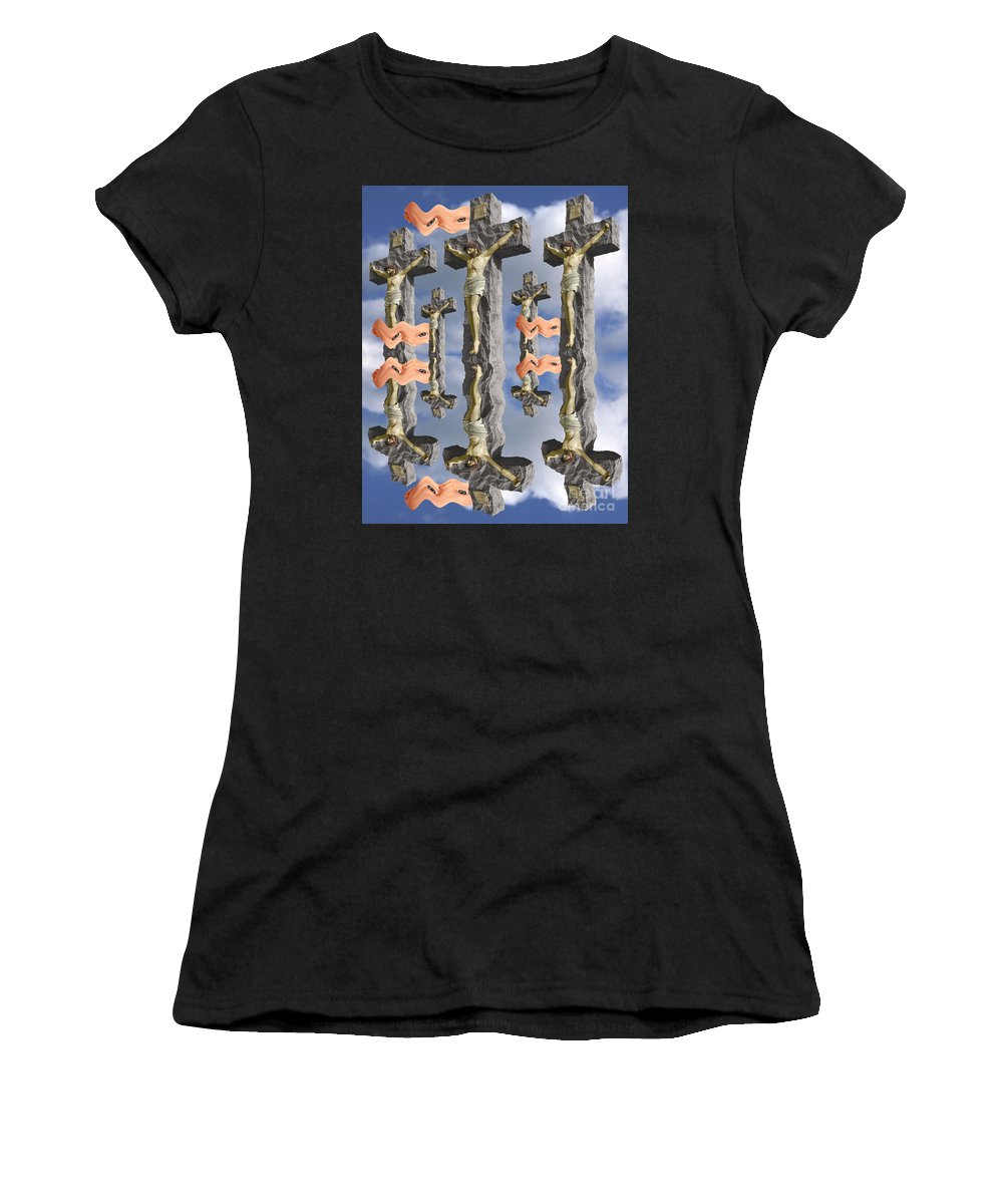 Digital Art Women's T-Shirt (Athletic Fit) featuring the digital art String Theory 2 by Keith Dillon