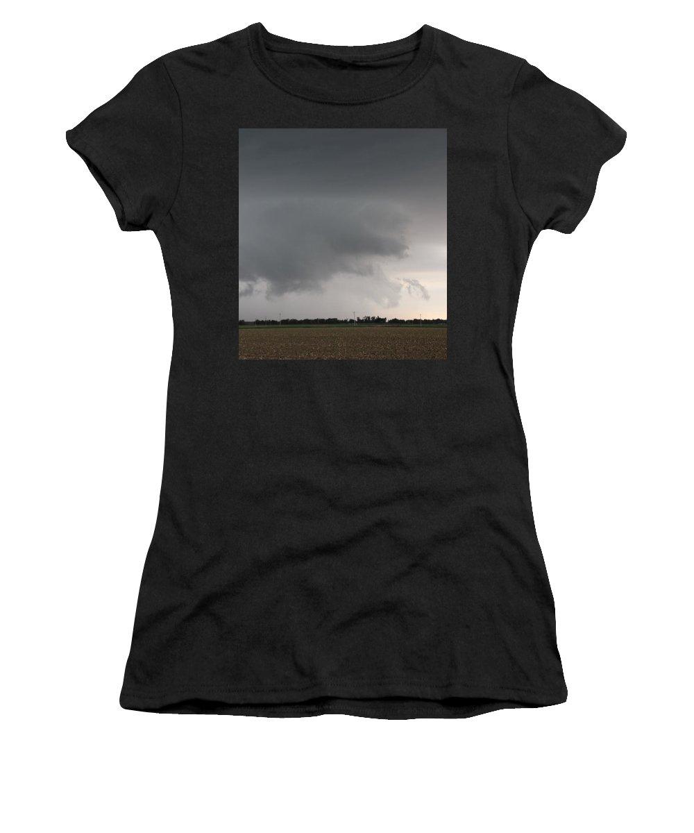 Stormscape Women's T-Shirt featuring the photograph Strong Nebraska Supercells by NebraskaSC