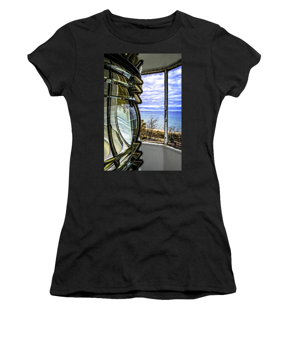 Usa Women's T-Shirt (Athletic Fit) featuring the photograph Sturgeon Point Lighthouse by LeeAnn McLaneGoetz McLaneGoetzStudioLLCcom