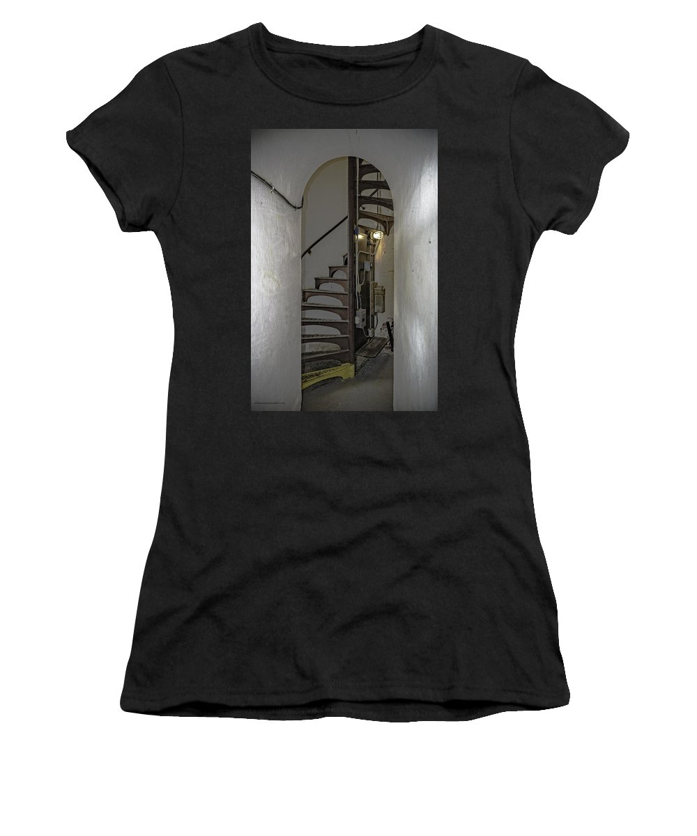 Usa Women's T-Shirt (Athletic Fit) featuring the photograph Sturgeon Point Lighthouse Spiral Staircase by LeeAnn McLaneGoetz McLaneGoetzStudioLLCcom