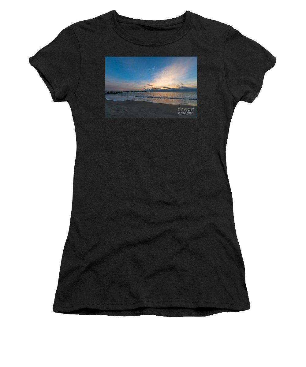 Sullivan's Island Women's T-Shirt (Athletic Fit) featuring the photograph Sullivan's Island Sc Sunrise by Dale Powell