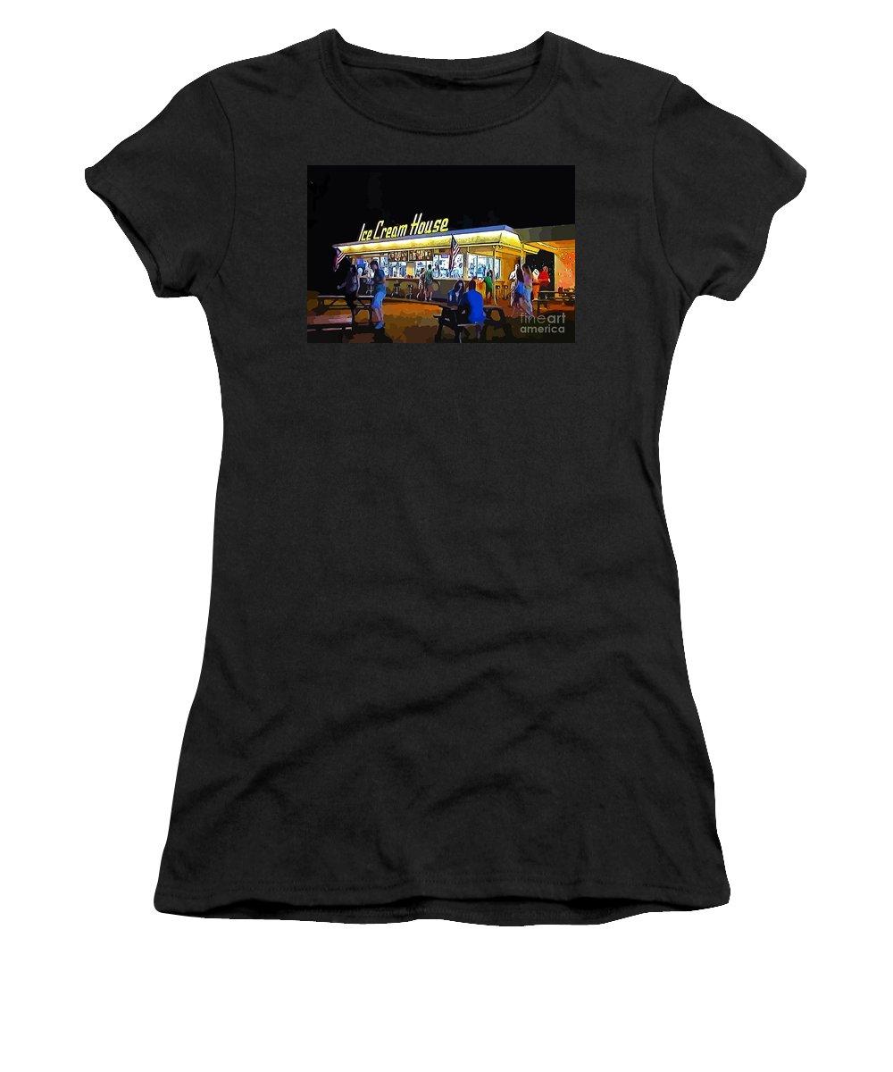 Summer Evening Women's T-Shirt (Athletic Fit) featuring the digital art Summer Evening by John Malone