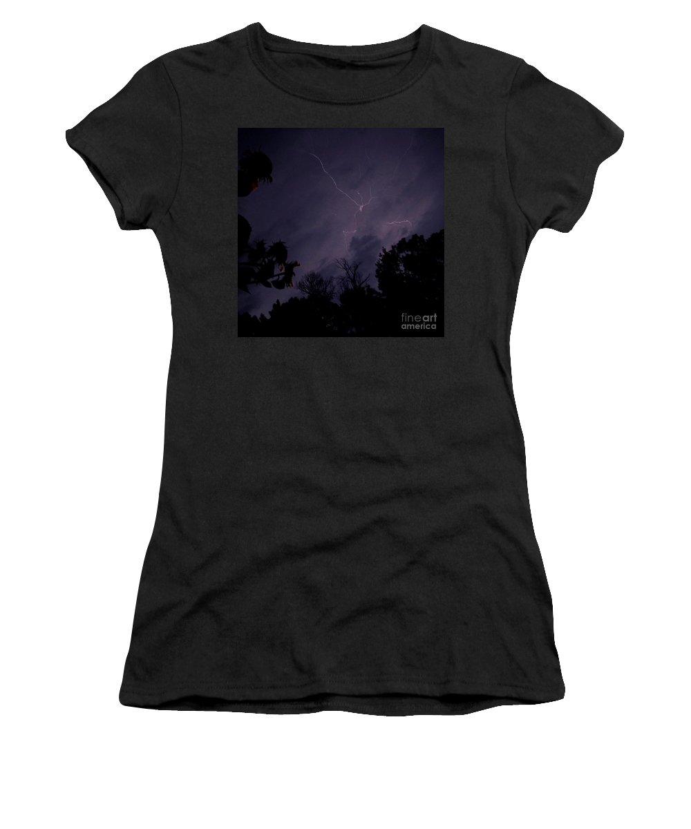 Summer Night Lightning Summer Thunder Storm Images Stormy Sky Storm Skyscapes Women's T-Shirt featuring the photograph Summer Night Lightning by Joshua Bales