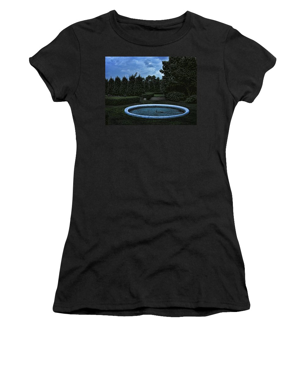 Blue Women's T-Shirt (Athletic Fit) featuring the photograph Summer Storm Coming Bahai Temple by John Hansen