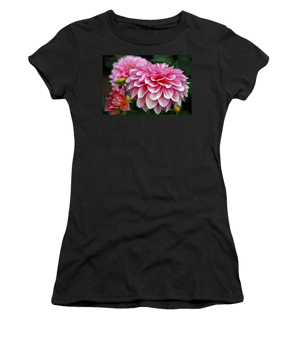 Dahlia Women's T-Shirt (Athletic Fit) featuring the photograph Summertime Blossoms by Athena Mckinzie