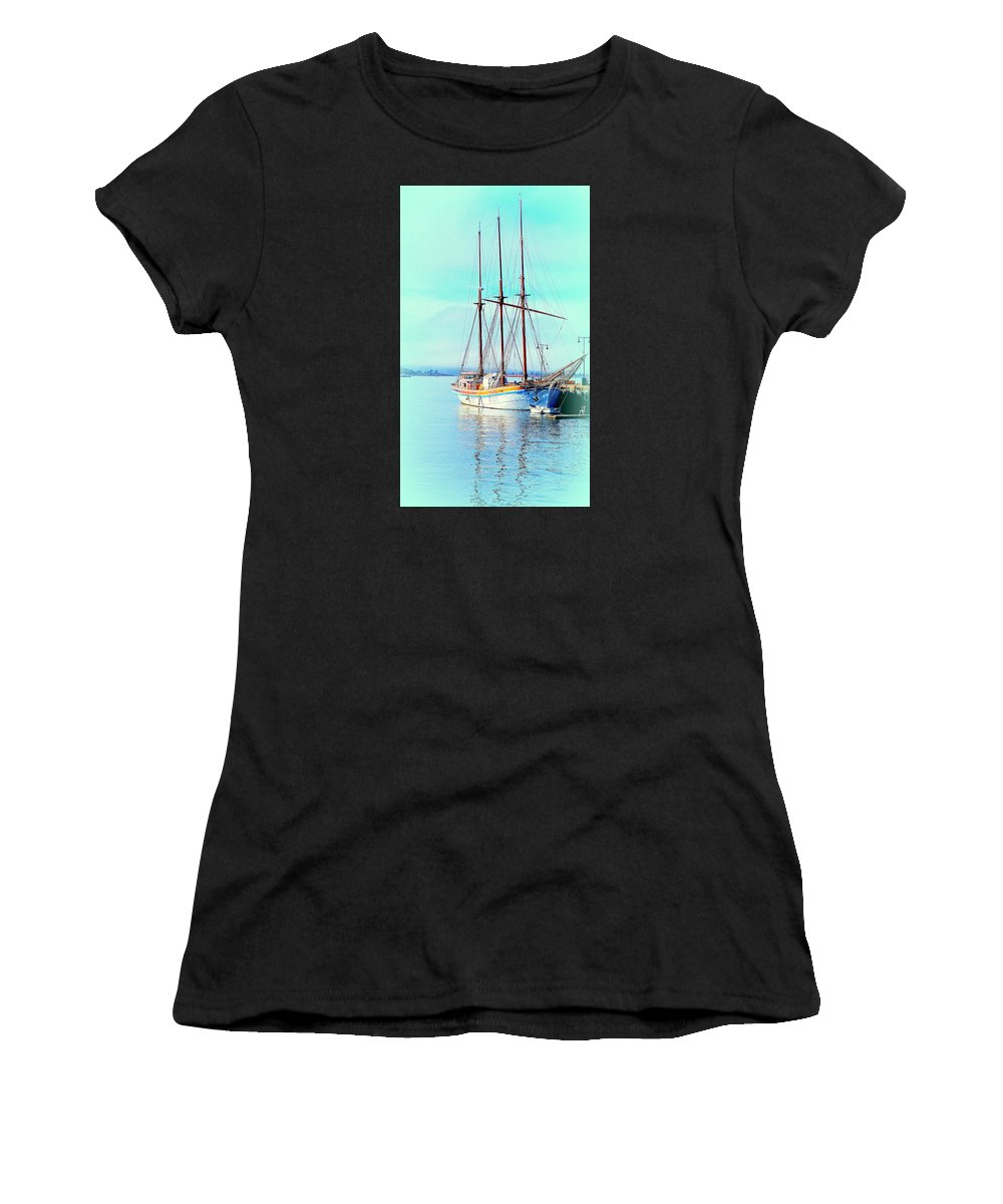 Boat Women's T-Shirt (Athletic Fit) featuring the photograph Summertime Will Be Soon And Then We Will Sail Away Again by Hilde Widerberg