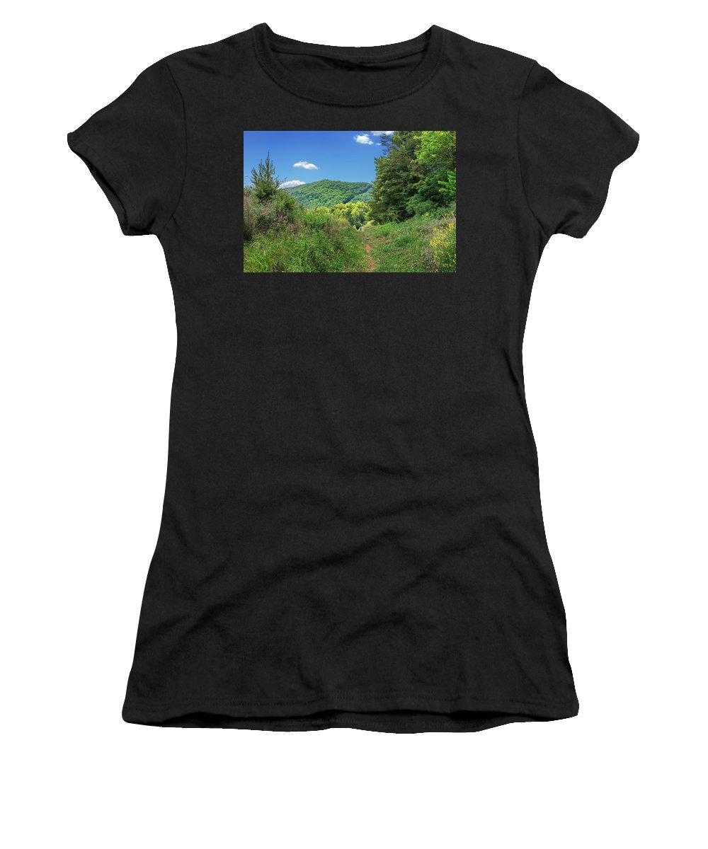 Cumberland Gap National Historical Park Women's T-Shirt (Athletic Fit) featuring the photograph Summertime Trail At The Gap by Mary Almond