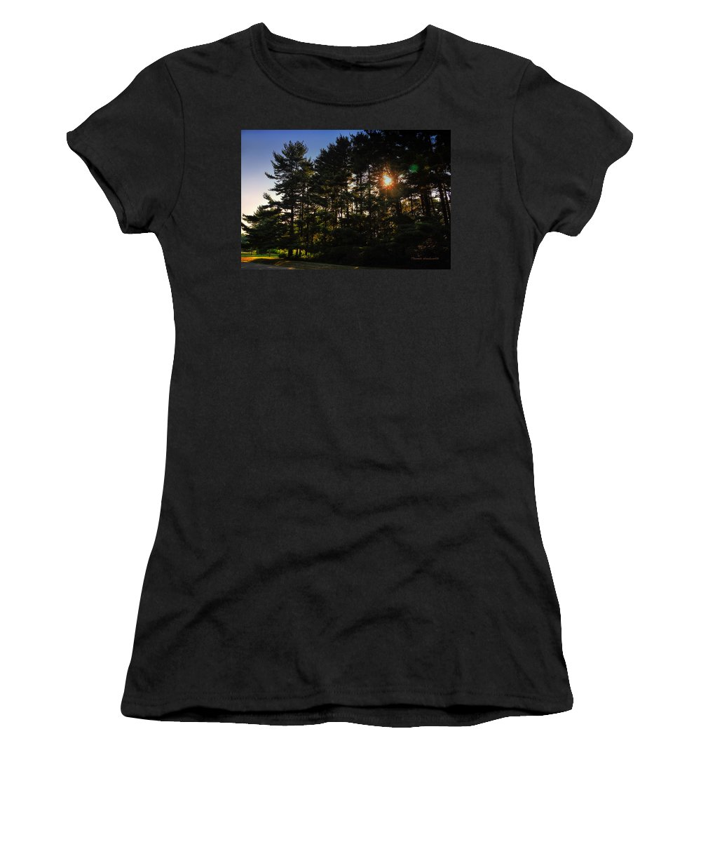 Sun Women's T-Shirt featuring the photograph Sun Burst Through The Trees by Thomas Woolworth