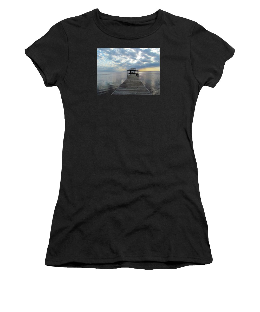 Sun Women's T-Shirt (Athletic Fit) featuring the photograph Sun Rays On The Lake by Cynthia Guinn