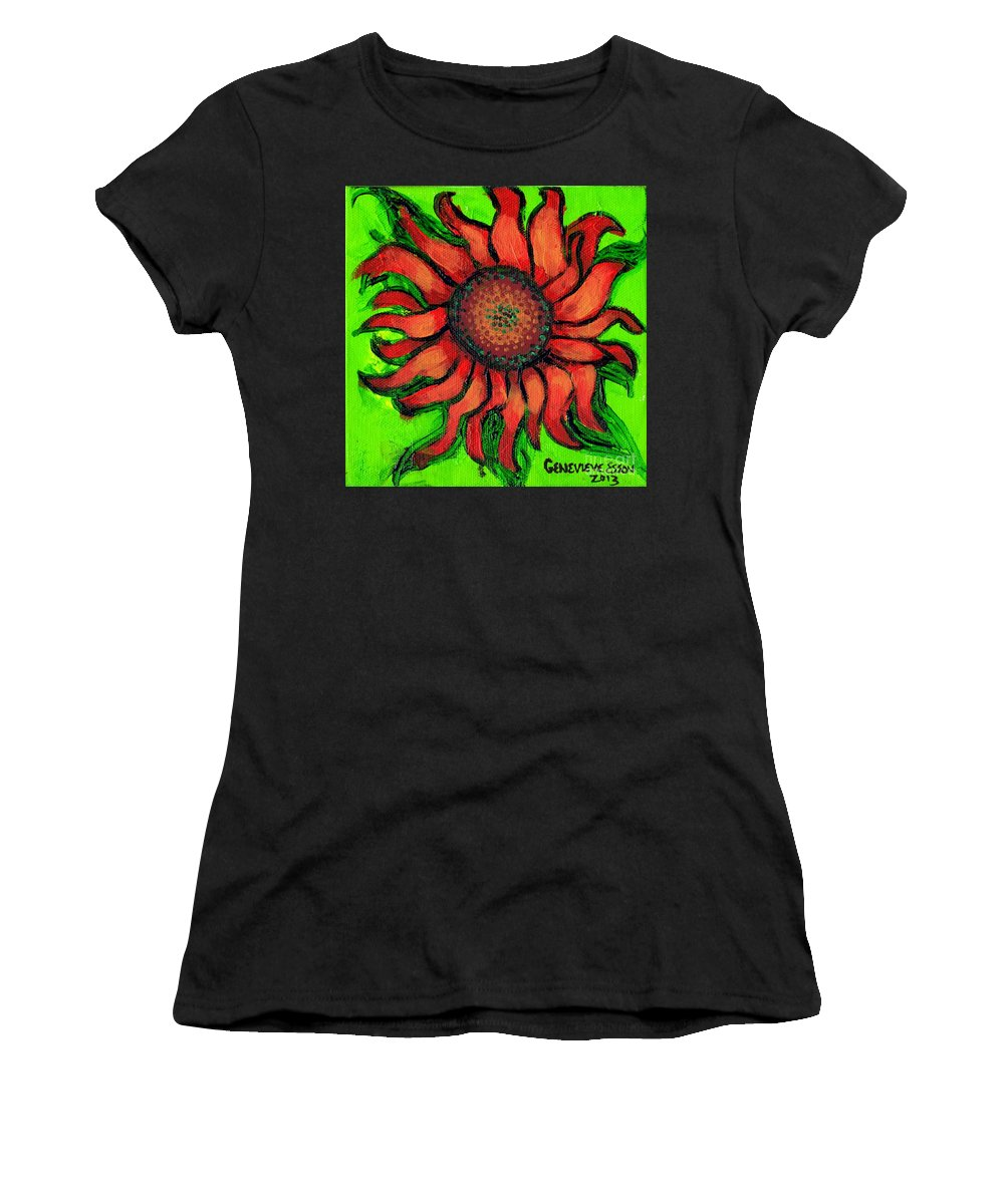 Sunflowr Women's T-Shirt (Athletic Fit) featuring the painting Sunflower 3 by Genevieve Esson